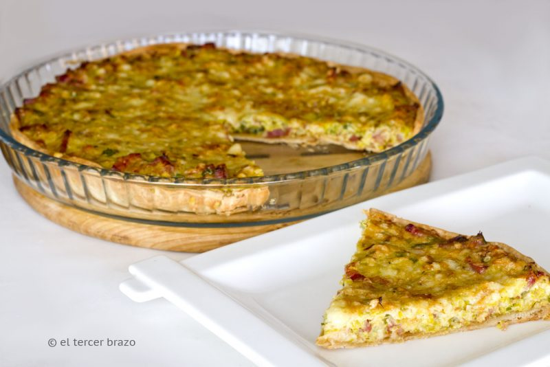 Quiche de puerros y bacon