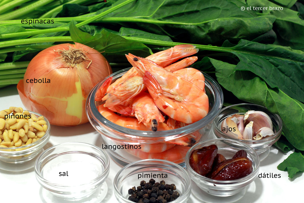 Ingredientes base de espinacas Huevos mollet